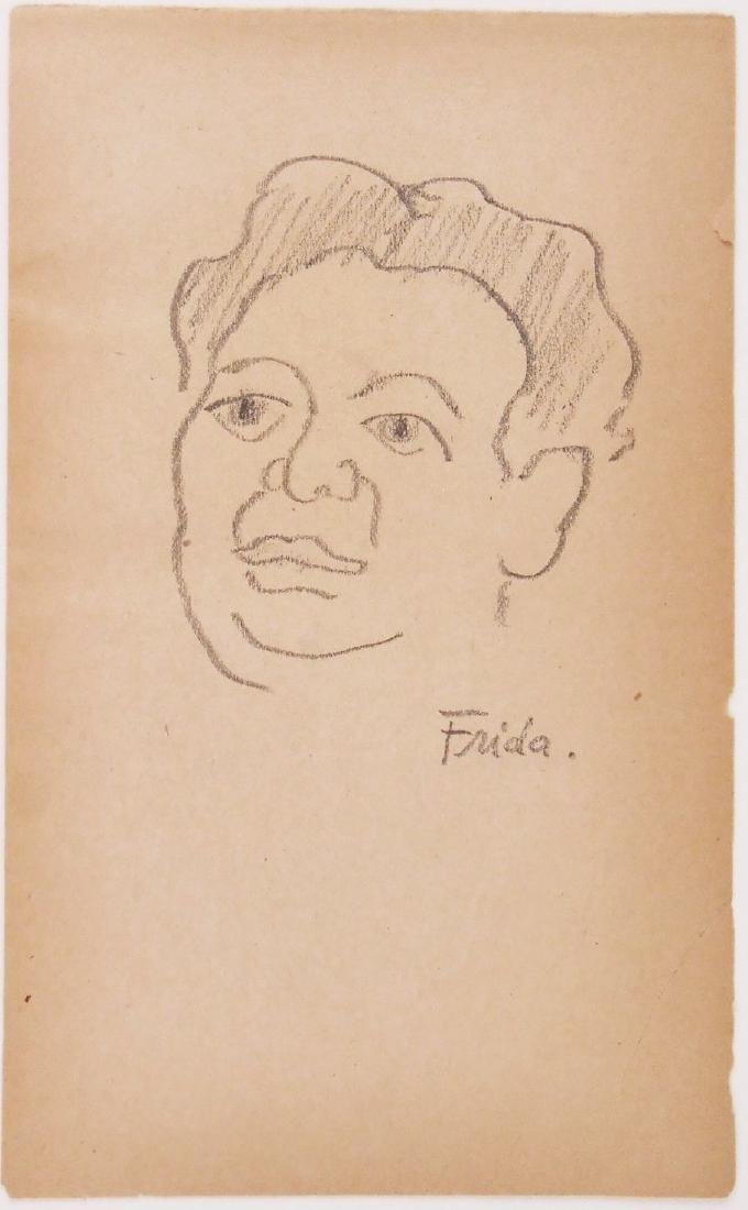Frida Kahlo (1907-1954) Pencil Drawing