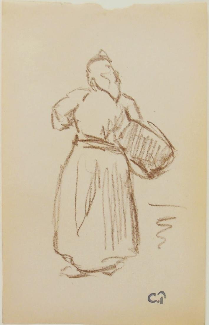 Camille Pissarro (1830-1903) Brown Chalk Drawing