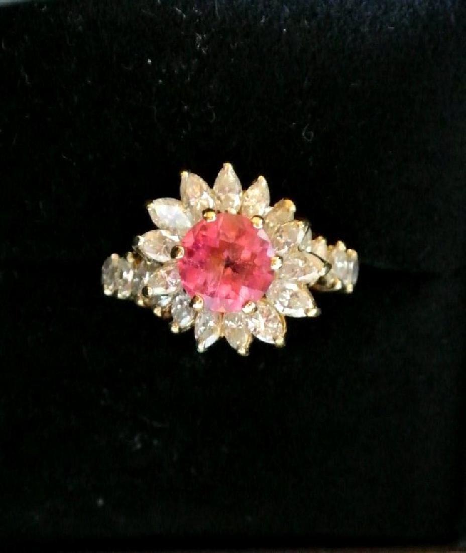 Lady's Diamond & Tourmailine Fashion Ring