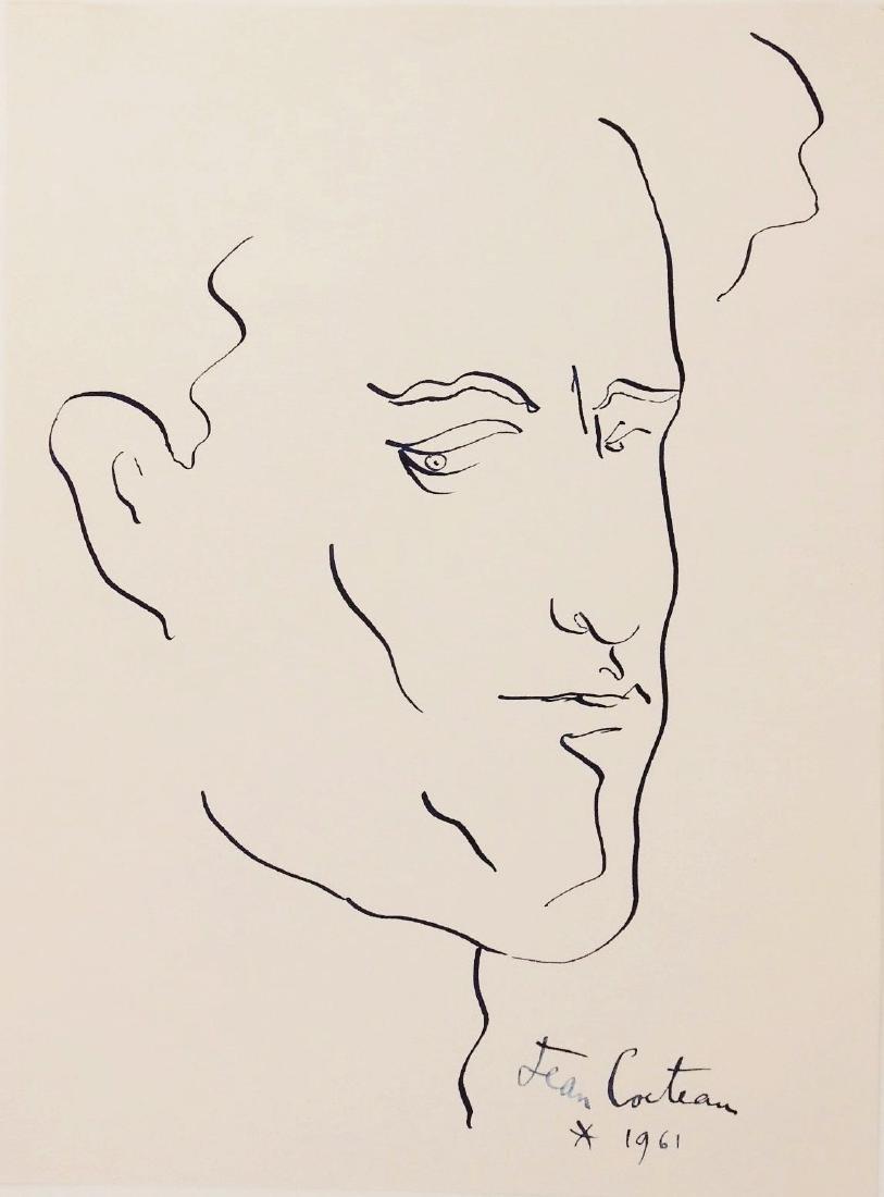 Jean Cocteau (1889-1963) Ink Self Portrait