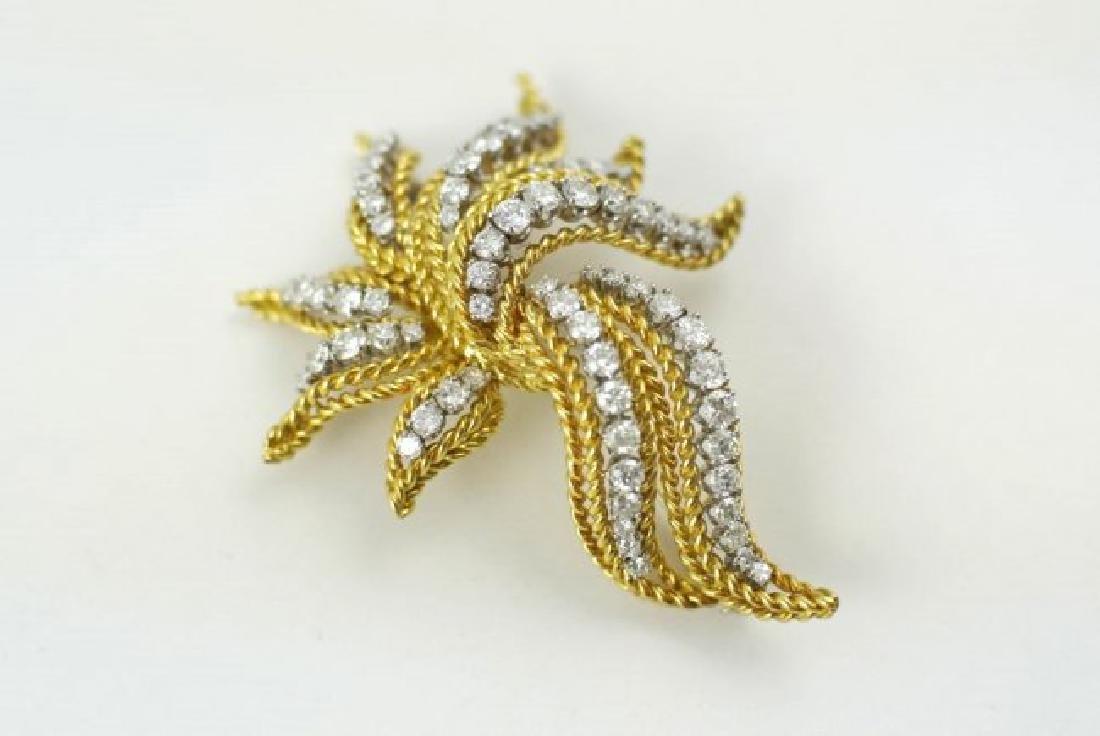 18Kt Gold & Diamond Brooch - 4