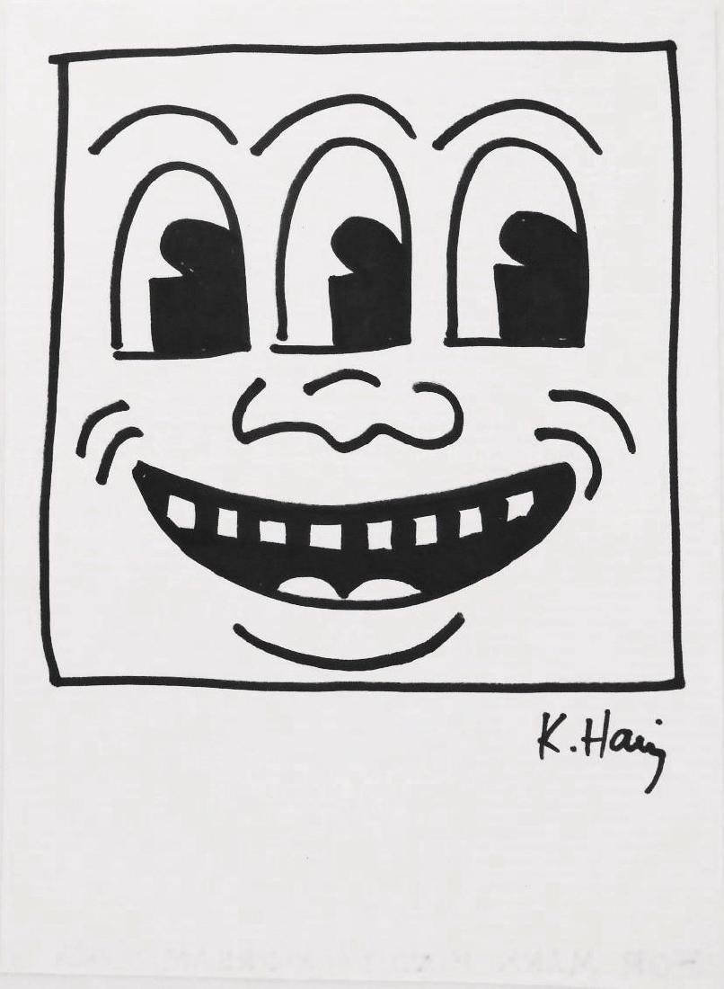 """Keith Haring (1958-1990) """"TV Face"""" Drawing"""