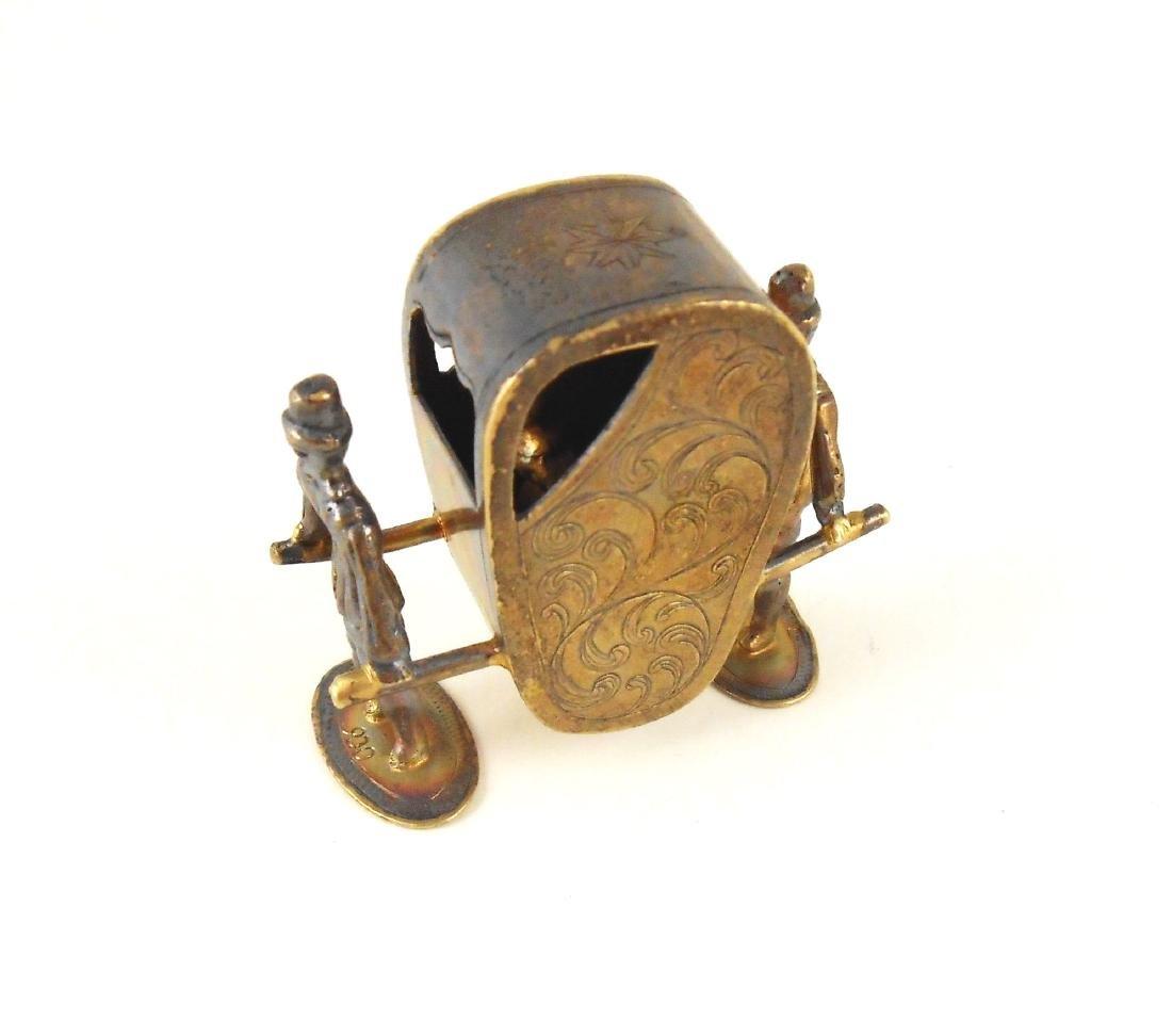 Miniature Gilt Sterling Silver Sedan Chair