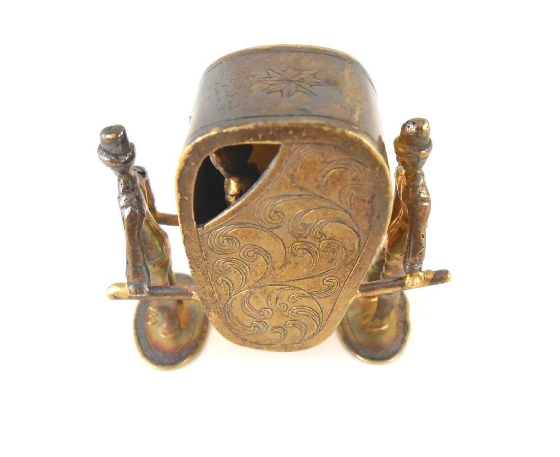 Miniature Gilt Sterling Silver Sedan Chair - 2