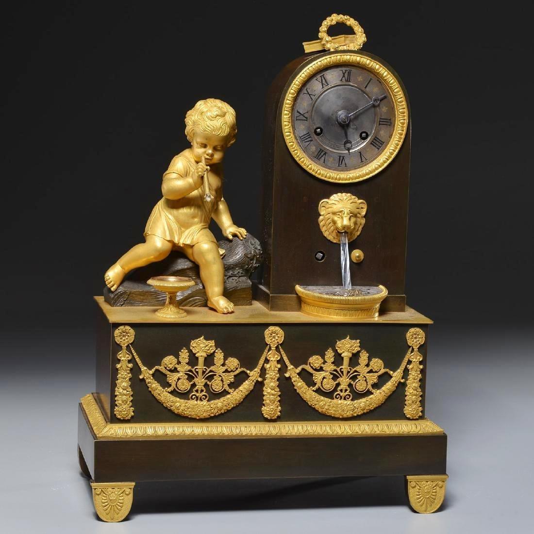 Charles X Bronze Fountain Mantel Clock