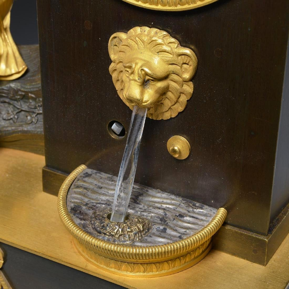 Charles X Bronze Fountain Mantel Clock - 4