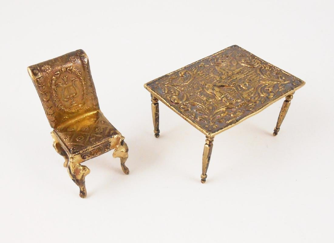 Miniature Gilt Sterling Silver Table & Chair