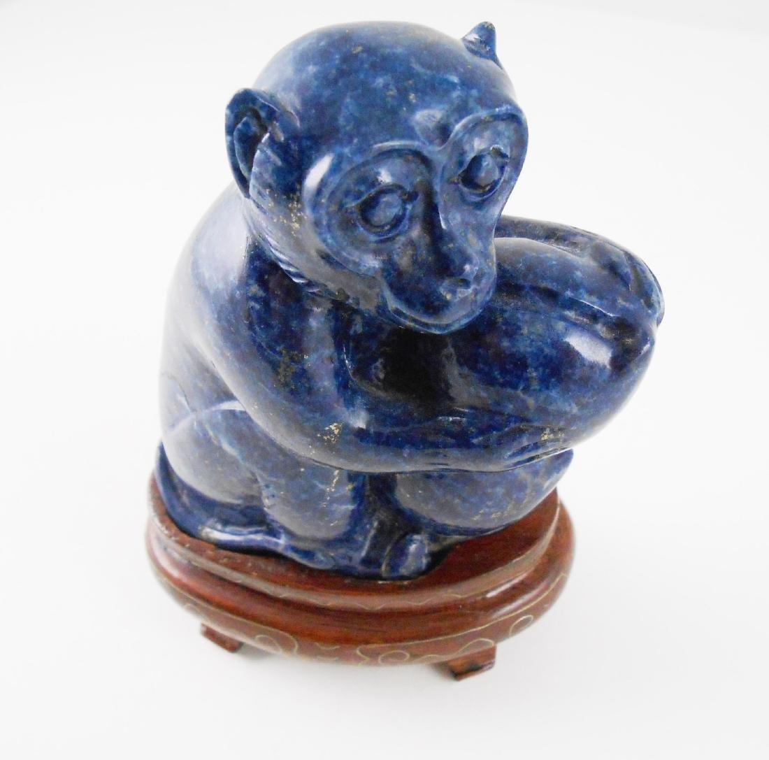 Chinese Carved Lapis Monkey