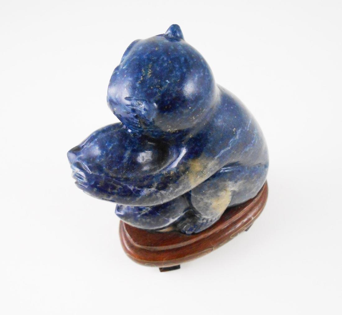 Chinese Carved Lapis Monkey - 2
