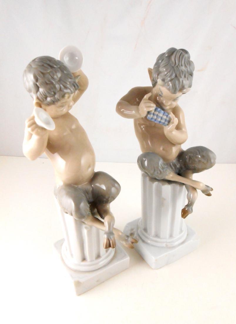 Pair Of LLadro Porcelain Faun Figurines - 2
