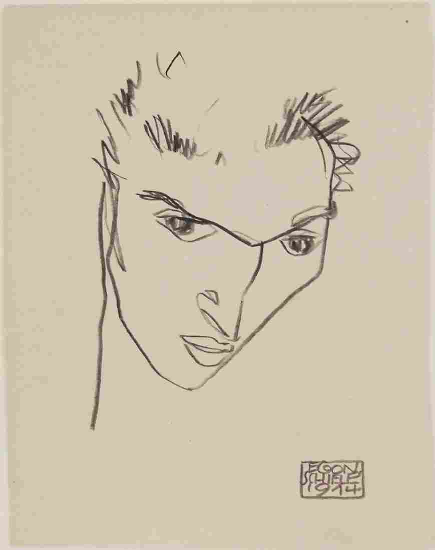 Egon Schiele (1890-1918) Black Pencil Sketch