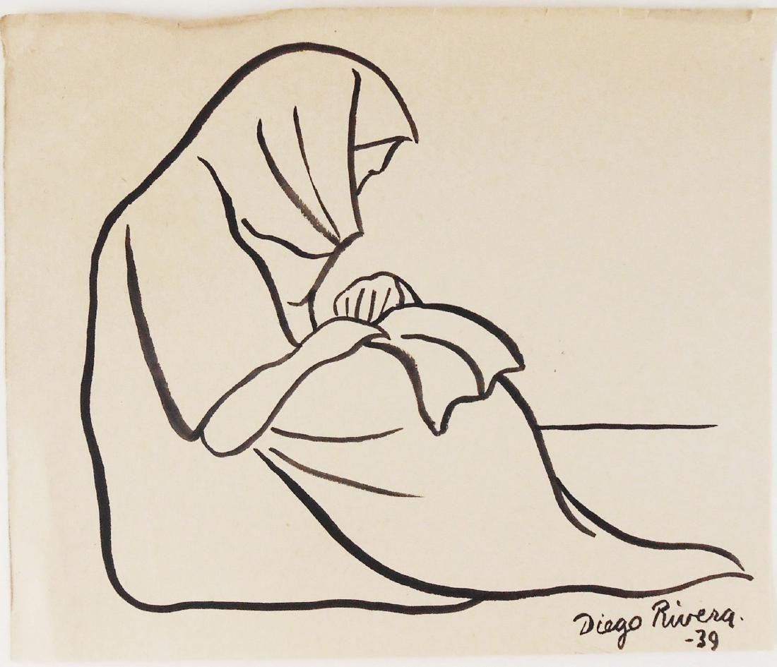 Diego Rivera (1886-1957) Brush & Ink Drawing