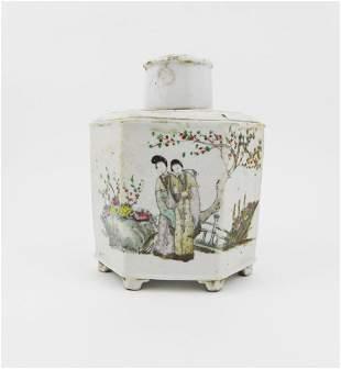 Chinese 6Sided Tea Jar Circa 1840