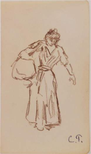 Camille Pissarro 18301903 Brown Chalk Drawing