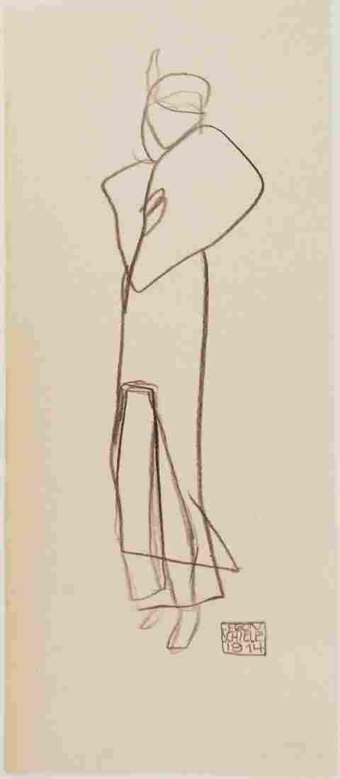 Egon Schiele (1890-1918) Pencil Sketch