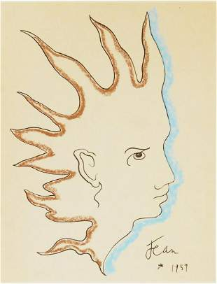 Jean Cocteau (1889-1963) Ink & Chalk Drawing