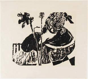 Woodblock Print On Rice Paper, Circa 1950-60
