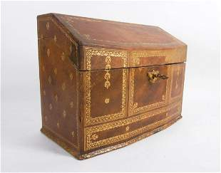 Antique Tooled Leather Letter Box, 19th Century