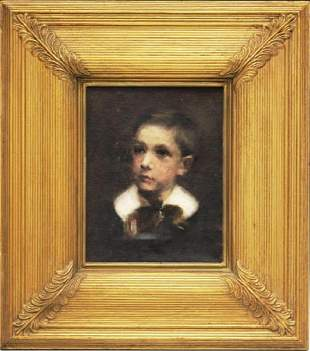 Oil Painting , Portrait Of A Boy, 19th Century