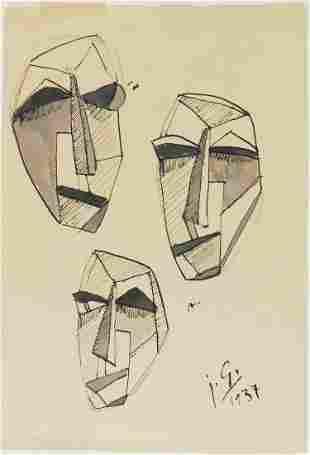 Julio Gonzalez (1876-1942) Ink & Wash Drawing