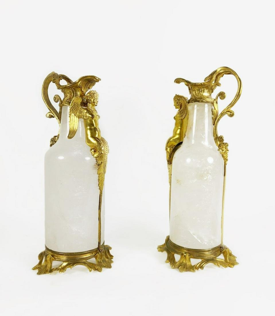 Pair Of French Louis XV-Style Rock Crystal Ewers