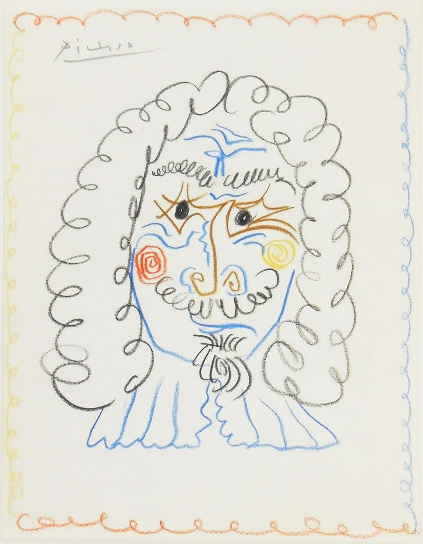 Pablo Picasso (1881-1973) Colored Pencil Sketch