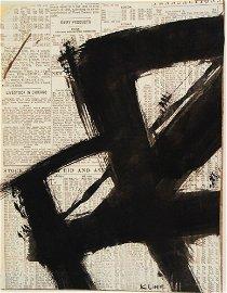 Franz Kline (1910-1962) Black Ink Abstract