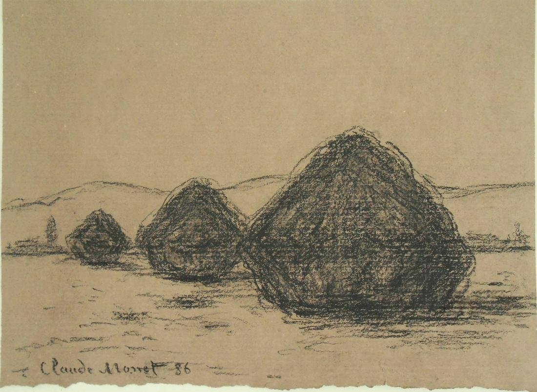 Claude Monet (1840-1926) Charcoal Drawing