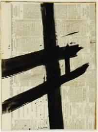 Franz Kline (1910-1962) Ink Abstract On Newspaper
