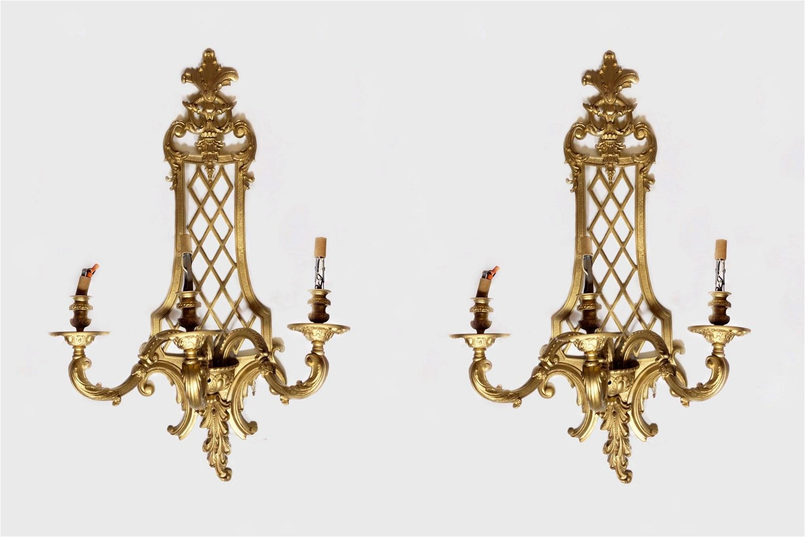 Pair Gilt Bronze Wall Sconces, Louis XV Style