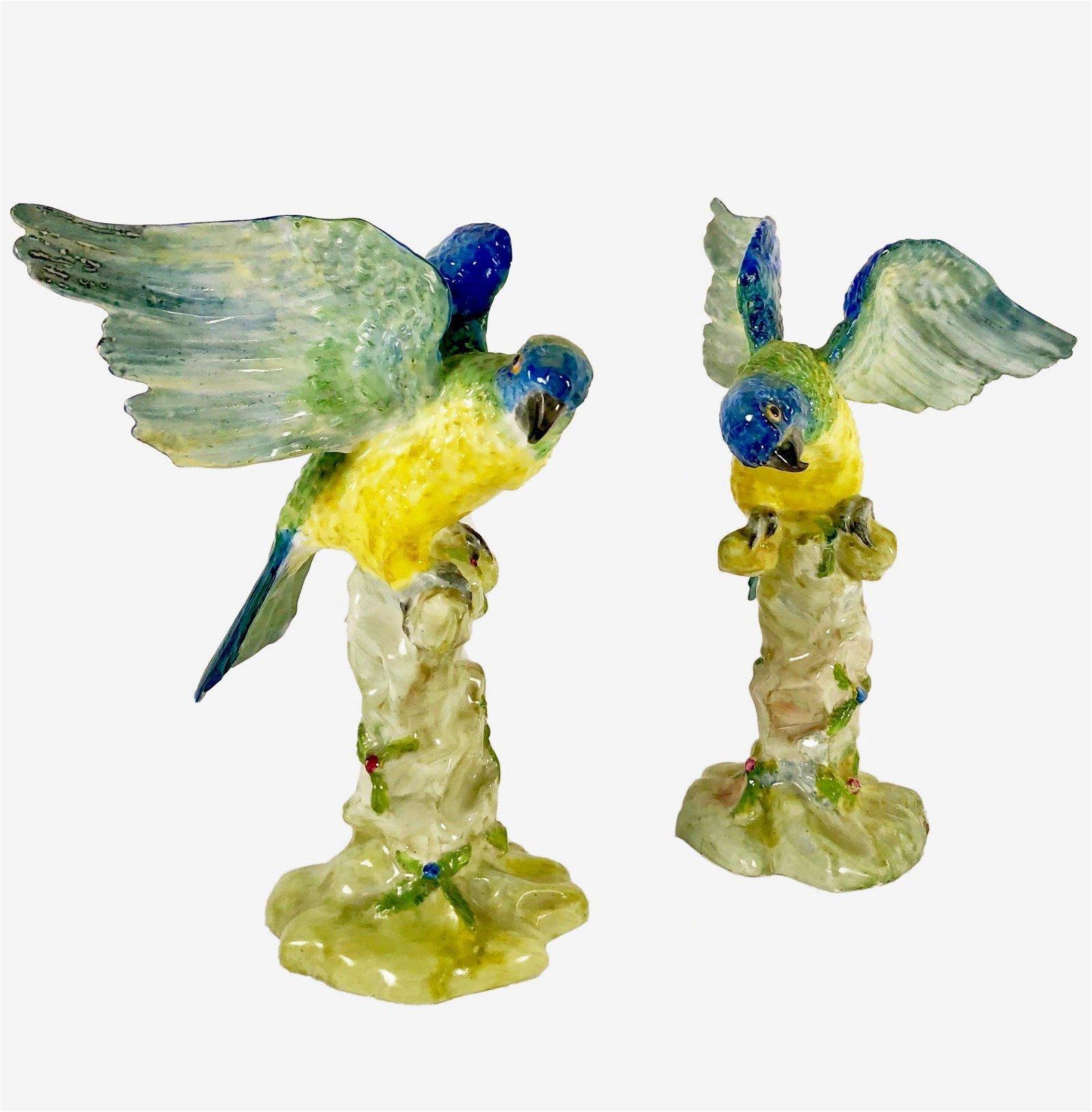 Pair Of Porcelain Parrots, 19th Century