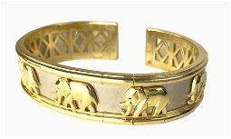 14K White & Yellow Gold Elephant Bracelet