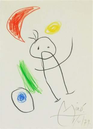 Joan Miro (1893-1983) Colored Pencil Sketch