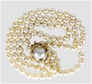 Pearl Necklace With 14K Pearl & Diamond Clasp