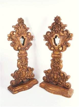 Pair 19th C. Carved Giltwood Altar Reliquaries