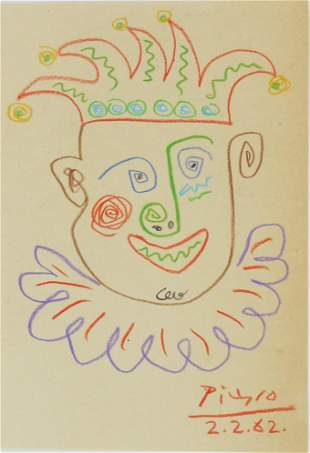 Pablo Picasso (1881-1973) Colored Pencil Drawing