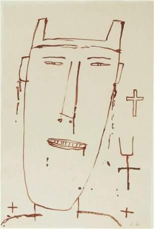 James Brown (1951-2020) Ink Drawing