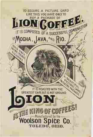 Lion Coffee Advertising Card