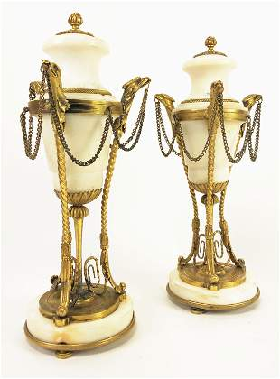 Pair of French Marble & Dore Bronze Cassoulets