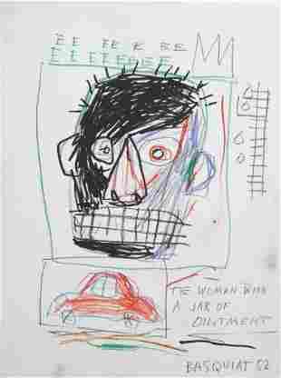 Jean-Michel Basquiat (1960-1988) Mixed Media