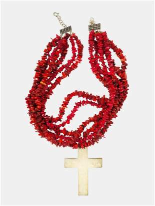 Multi-Strand Red Coral Bead Necklace