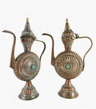 Pair Of Egyptian Tea Ewers, Circa 1900