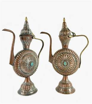 Pair Of Egyptian Tea Ewers, Circa 1900