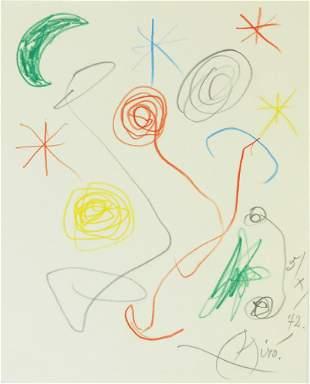 Joan Miro (1893-1983) Colored Pencil Drawing