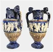 Pair Majolica Vases, Circa 19th Century