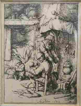 Adrian Van Ostade (1610-1685) Etching, 1648