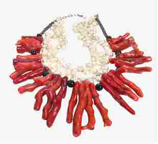 Coral & Pearl Necklace