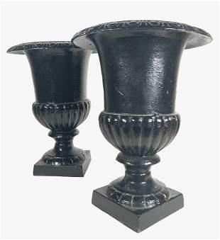 Pair Cast Iron Medici Urns