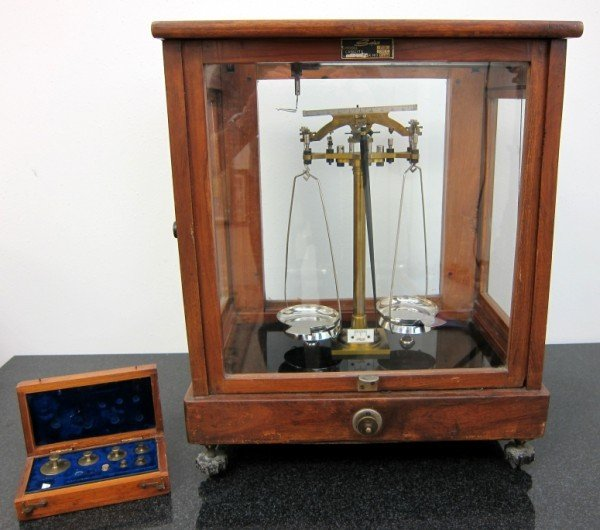 1: 19th Century Gold Scale And Weights