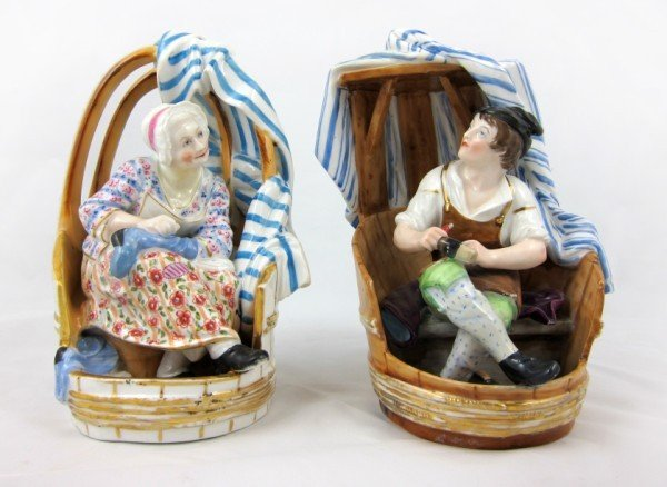 """16: Pair Of Crown Derby Figurines, """"The Menders"""""""